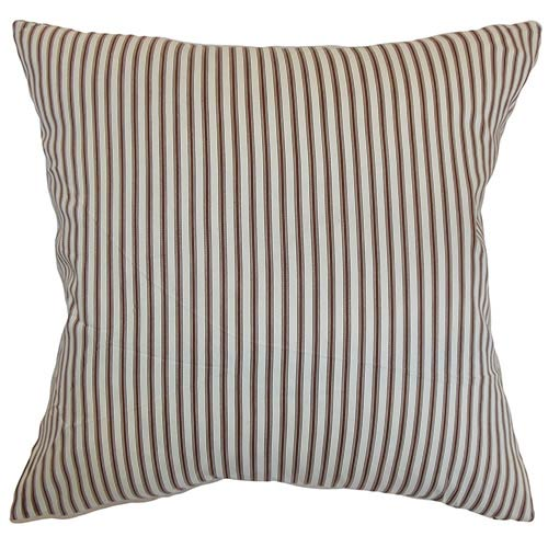 The Pillow Collection Daxiam Brown and White 18 x 18 Stripes Throw Pillow