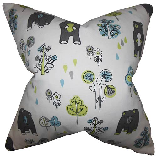 The Pillow Collection Madigan White 18 x 18 Floral Throw Pillow