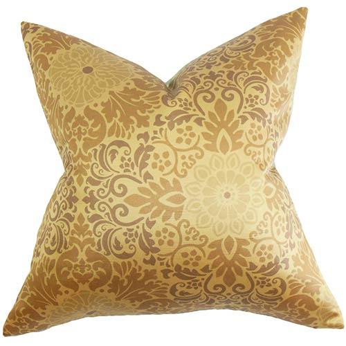 Seafarina Gold 18 x 18 Floral Throw Pillow