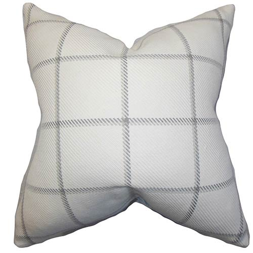 Wilmie Gray 18 x 18 Plaid Throw Pillow