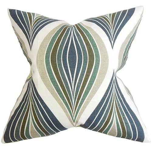 The Pillow Collection Carlow Blue 18 x 18 Geometric Throw Pillow