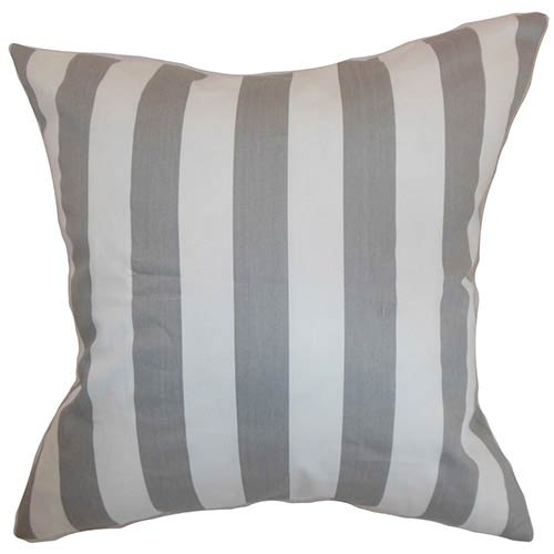 The Pillow Collection Ilaam Gray 18 x 18 Stripes Throw Pillow