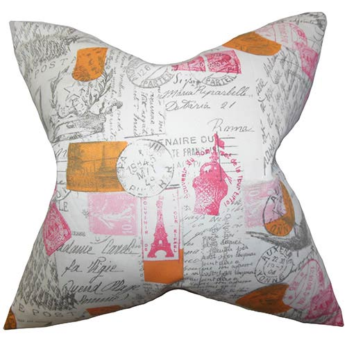 The Pillow Collection Winsome Pink 18 x 18 Patterned Throw Pillow