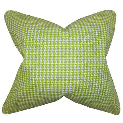 The Pillow Collection Lviv Green 18 x 18 Plaid Throw Pillow