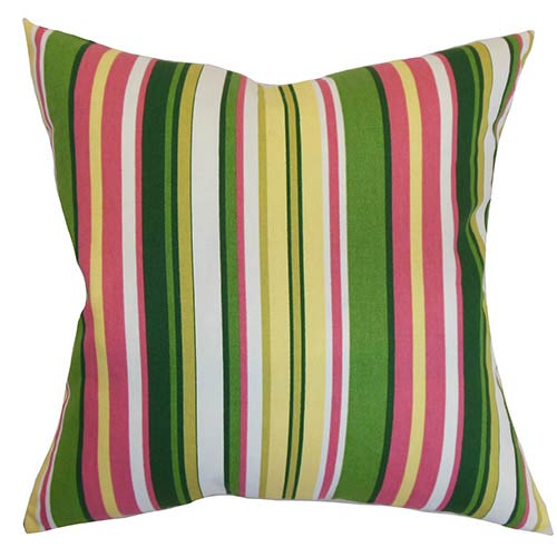 Luthien Pink 18 x 18 Stripes Throw Pillow