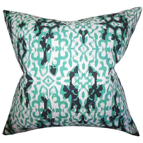 The Pillow Collection Madrigal Green 18 x 18 Patterned Throw Pillow