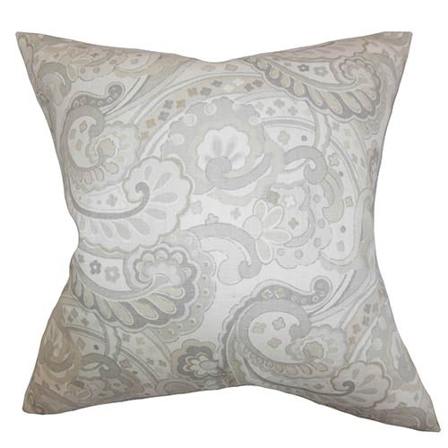 The Pillow Collection Iphigenia Linen Gray 18 x 18 Floral Throw Pillow