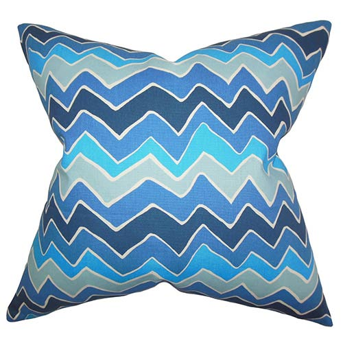 The Pillow Collection Achsah Arctic Blue 18 x 18 Zigzag Throw Pillow