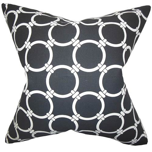 The Pillow Collection Bechet Black 18 x 18 Geometric Throw Pillow