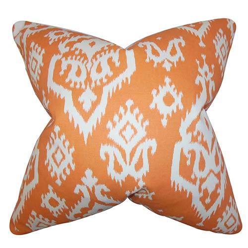 The Pillow Collection Baraka Orange 18 x 18 Ikat Throw Pillow