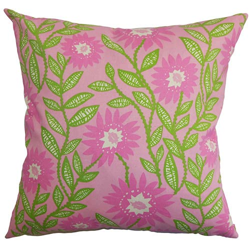 The Pillow Collection Leena Pink and Green 18 x 18 Floral Throw Pillow