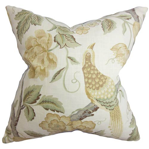 The Pillow Collection Iselin White 18 x 18 Floral Throw Pillow