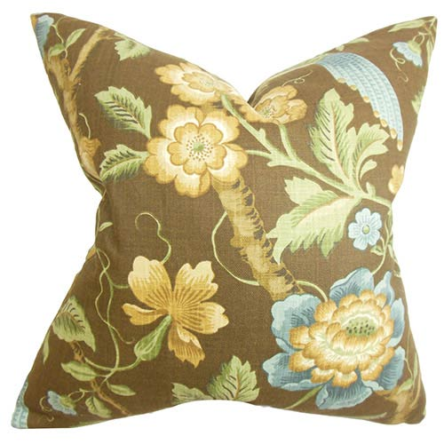 The Pillow Collection Iselin Brown 18 x 18 Floral Throw Pillow