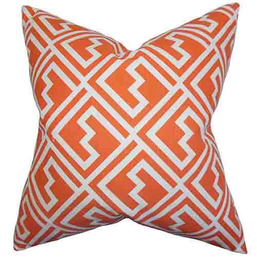 The Pillow Collection Ragnhild Orange 18 x 18 Geometric Throw Pillow
