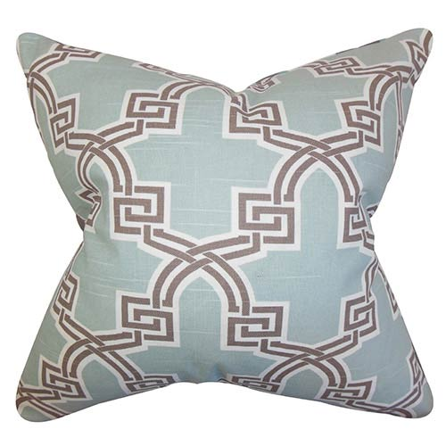 The Pillow Collection Letha Blue 18 x 18 Geometric Throw Pillow