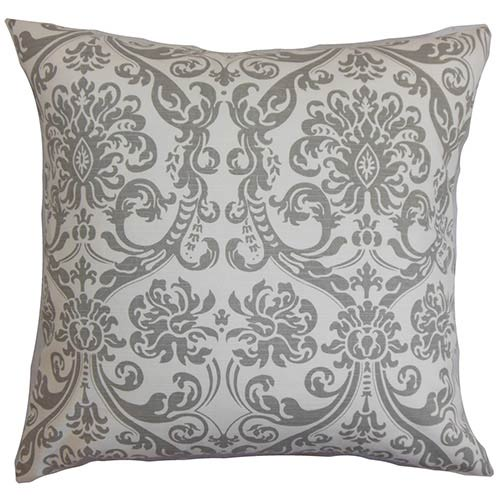 Saskia Gray 18 x 18 Patterned Throw Pillow