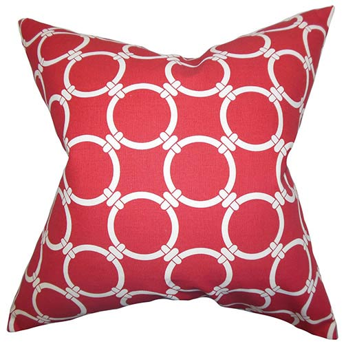 The Pillow Collection Betchet Red 18 x 18 Geometric Throw Pillow