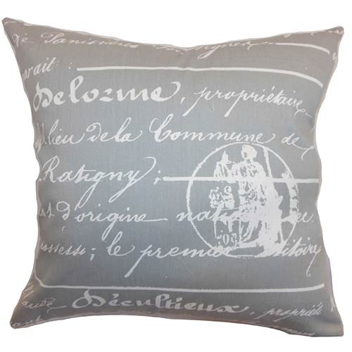 The Pillow Collection Saloua Gray 18 x 18 Patterned Throw Pillow