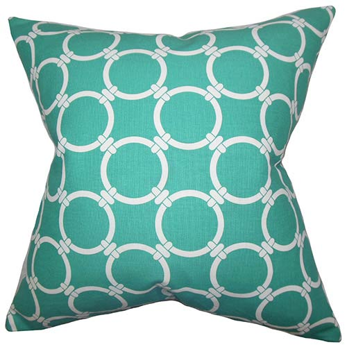 The Pillow Collection Betchet Green 18 x 18 Geometric Throw Pillow