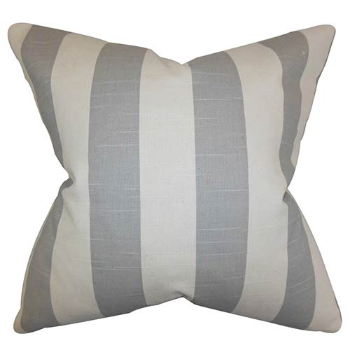The Pillow Collection Acantha Gray 18 x 18 Stripes Throw Pillow