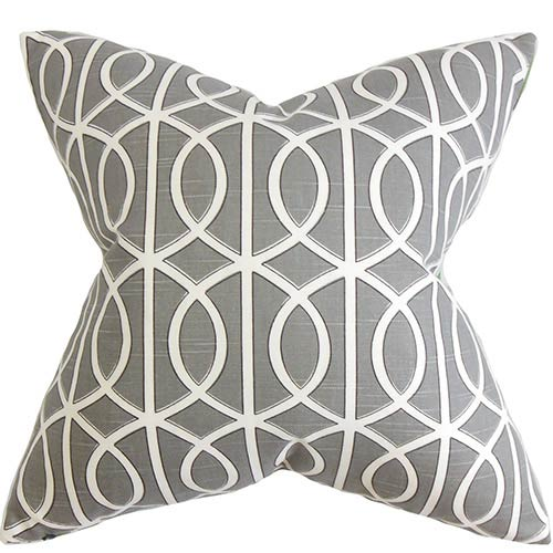 The Pillow Collection Lior Gray 18 x 18 Geometric Throw Pillow