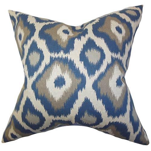 The Pillow Collection Becan Blue 18 x 18 Ikat Throw Pillow