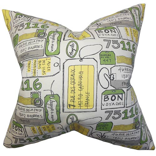 The Pillow Collection Reginy Yellow 18 x 18 Patterned Throw Pillow