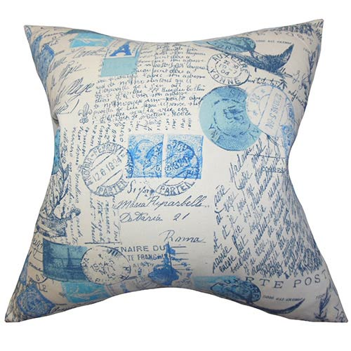 The Pillow Collection Winsome Blue 18 x 18 Patterned Throw Pillow