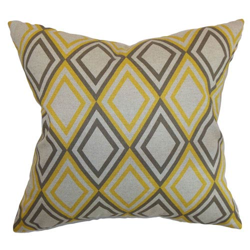 The Pillow Collection Eirunepe Geometric Pillow Yellow Kelp Linen