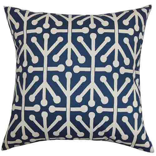 The Pillow Collection Heath Blue Natural 18 x 18 Geometric Throw Pillow