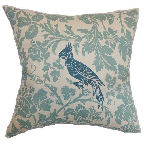 The Pillow Collection Gayndah Floral Pillow Blue Natural