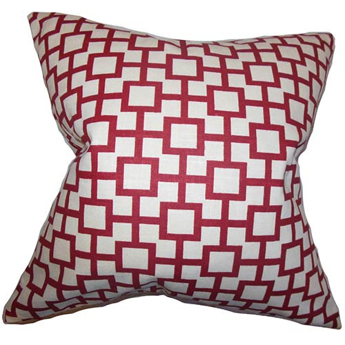 Janka White 18 x 18 Geometric Throw Pillow