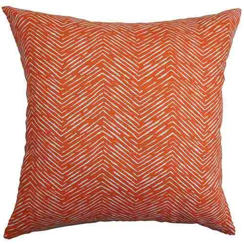 The Pillow Collection Edythe Orange 18 x 18 Zigzag Throw Pillow