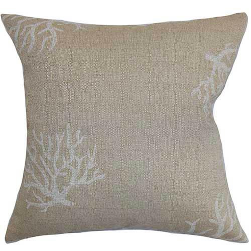 The Pillow Collection Jessamine Gray 18 x 18 Coastal Throw Pillow