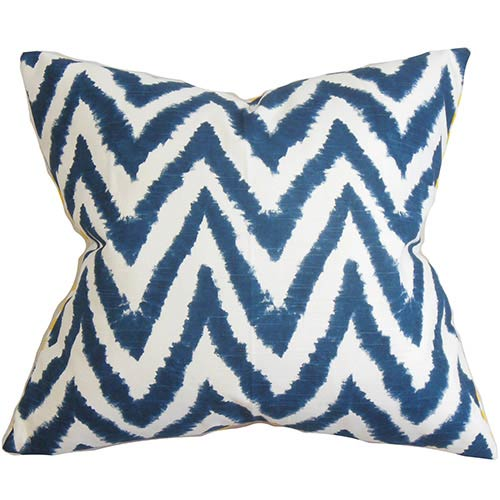 The Pillow Collection Kingspear Blue 18 x 18 Zigzag Throw Pillow