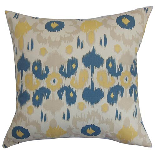 The Pillow Collection Querida Denim Natural Blue 18 x 18 Patterned Throw Pillow