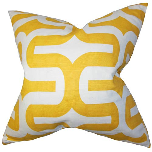 The Pillow Collection Jaslene Yellow 18 x 18 Geometric Throw Pillow