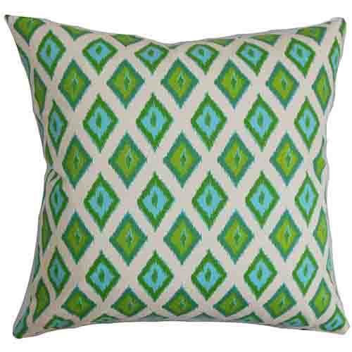 The Pillow Collection Ipomen Green 18 x 18 Ikat Throw Pillow