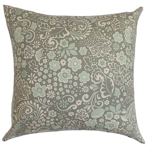 The Pillow Collection Manchineel Blue 18 x 18 Floral Throw Pillow