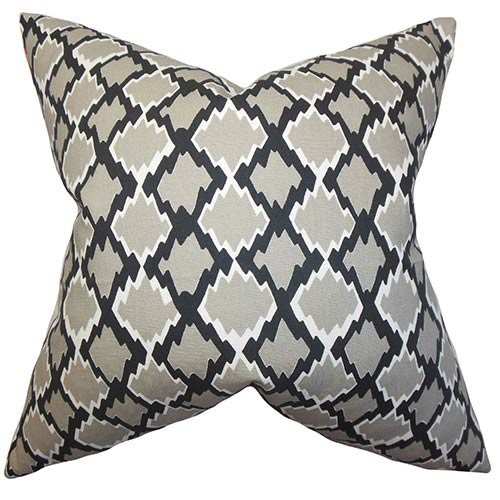 The Pillow Collection Welcome Gray 18 x 18 Geometric Throw Pillow