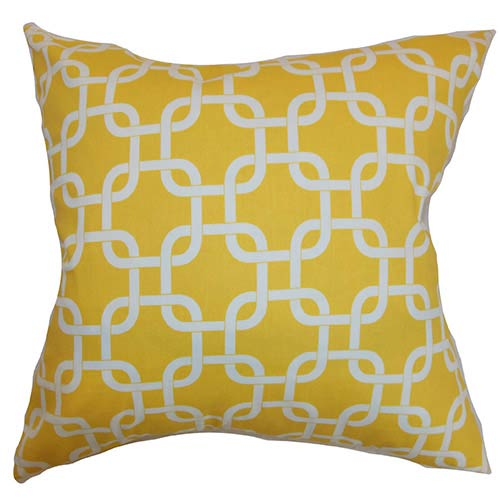 The Pillow Collection Qishn Yellow 18 x 18 Geometric Throw Pillow