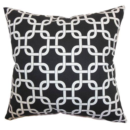 The Pillow Collection Qishn Geometric Pillow Black