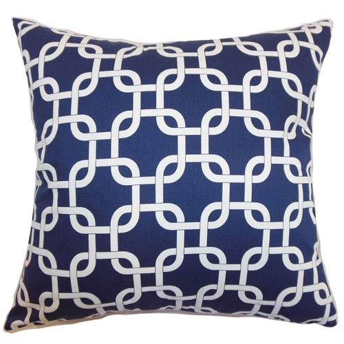 The Pillow Collection Qishn Geometric Pillow Blue Twill