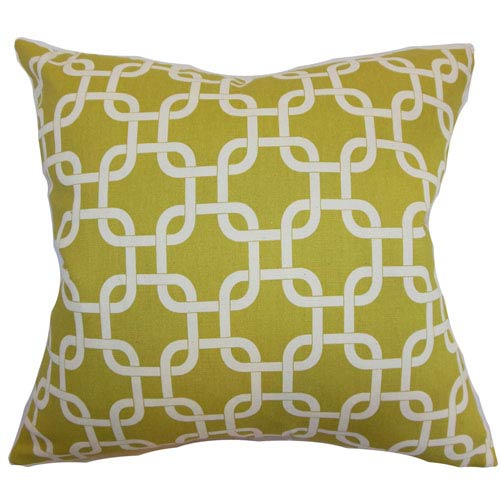 The Pillow Collection Qishn Geometric Pillow Summerland Yellow Natural