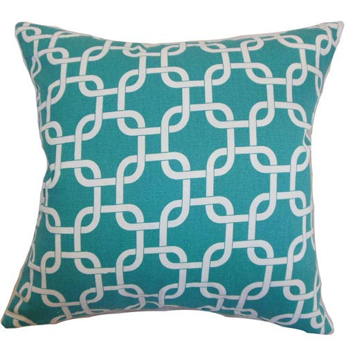 The Pillow Collection Qishn Geometric Pillow Turquoise