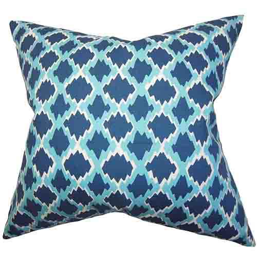 The Pillow Collection Welcome Blue 18 x 18 Geometric Throw Pillow