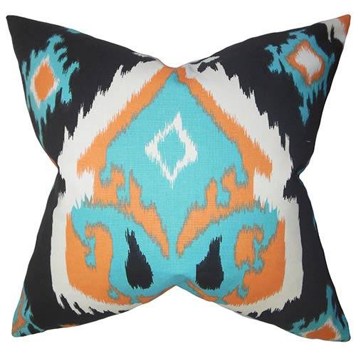 The Pillow Collection Djuna Orange 18 x 18 Ikat Throw Pillow