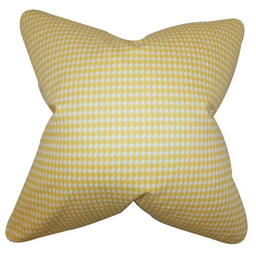 Lviv Yellow 18 x 18 Plaid Throw Pillow
