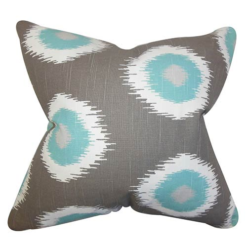The Pillow Collection Paegna Gray 18 x 18 Patterned Throw Pillow
