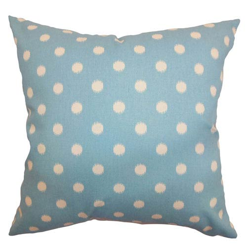 The Pillow Collection Rennice Ikat Dots Pillow Soft Blue Natural